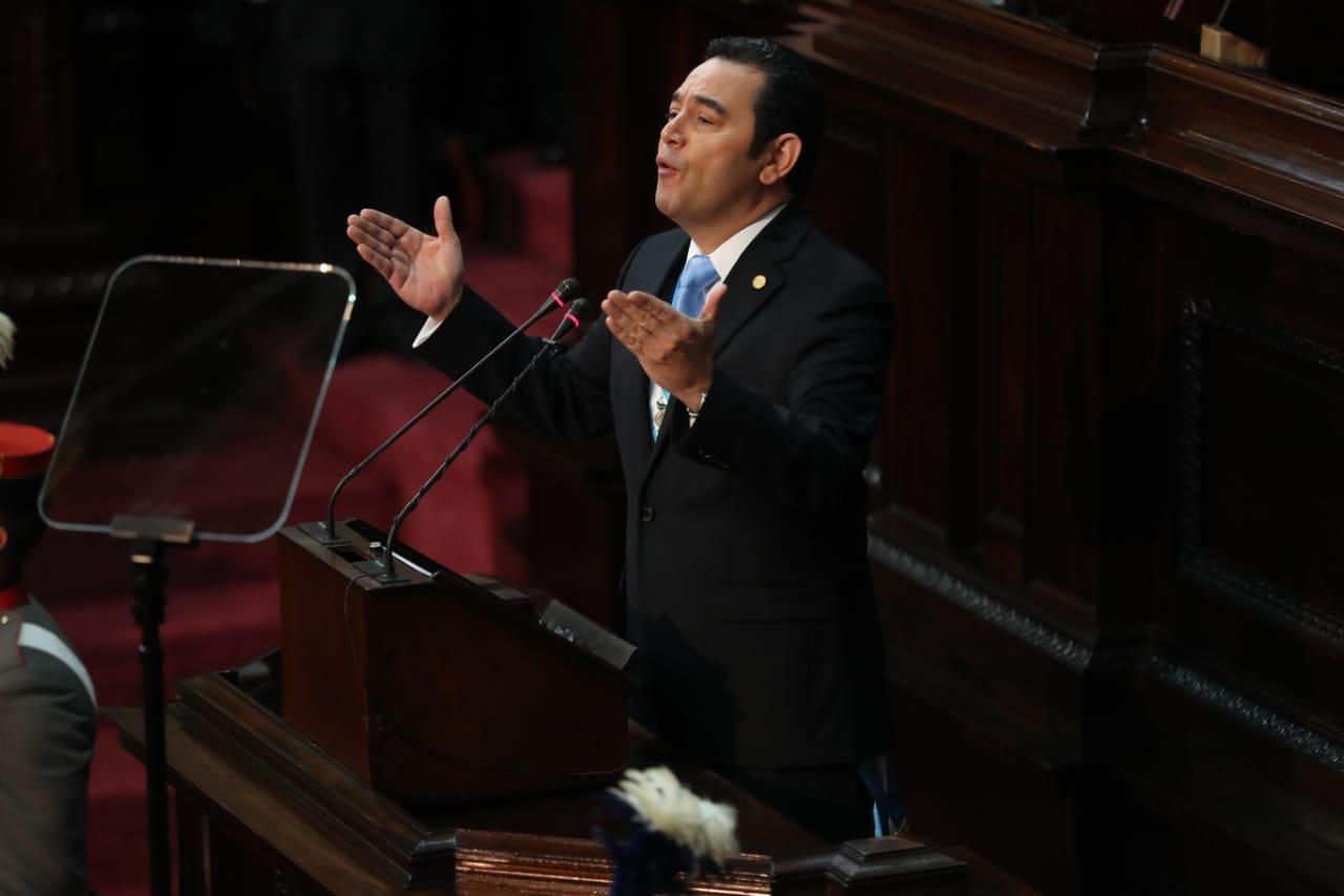 El presidente Jimmy Morales presentó su tercer informe de gobierno en el Congreso. (Foto Prensa Libre: Esbin García)