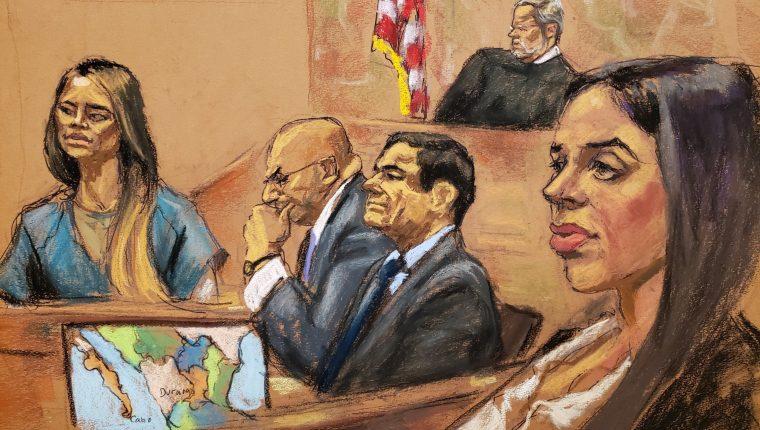 """Ilustración artística de la Chapodiputada, Lucero Sánchez (al fondo), durante su """"declaración de amor"""", que fue presenciada por la esposa del Chapo, Emma Coronel. (Foto Prensa Libre: EFE)"""