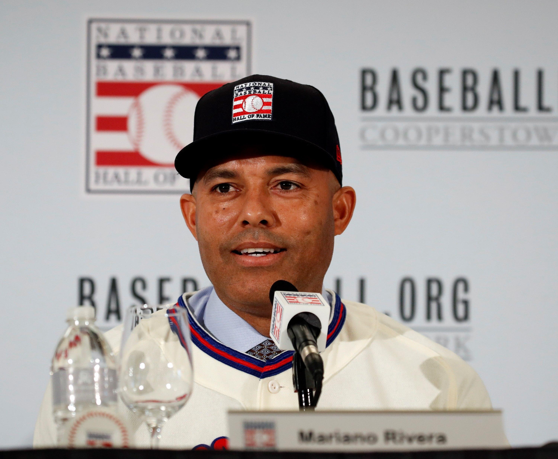 Mariano Rivera de los Yankees de Nueva York llega al Salón de la Fama de las Grandes Ligas. (Foto Prensa Libre: EFE)