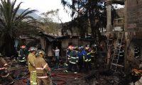 Incendio en cohetería en San Lorenzo EL Cubo, Ciudad Vieja, Sacatepéquez. (Julio Sicán)