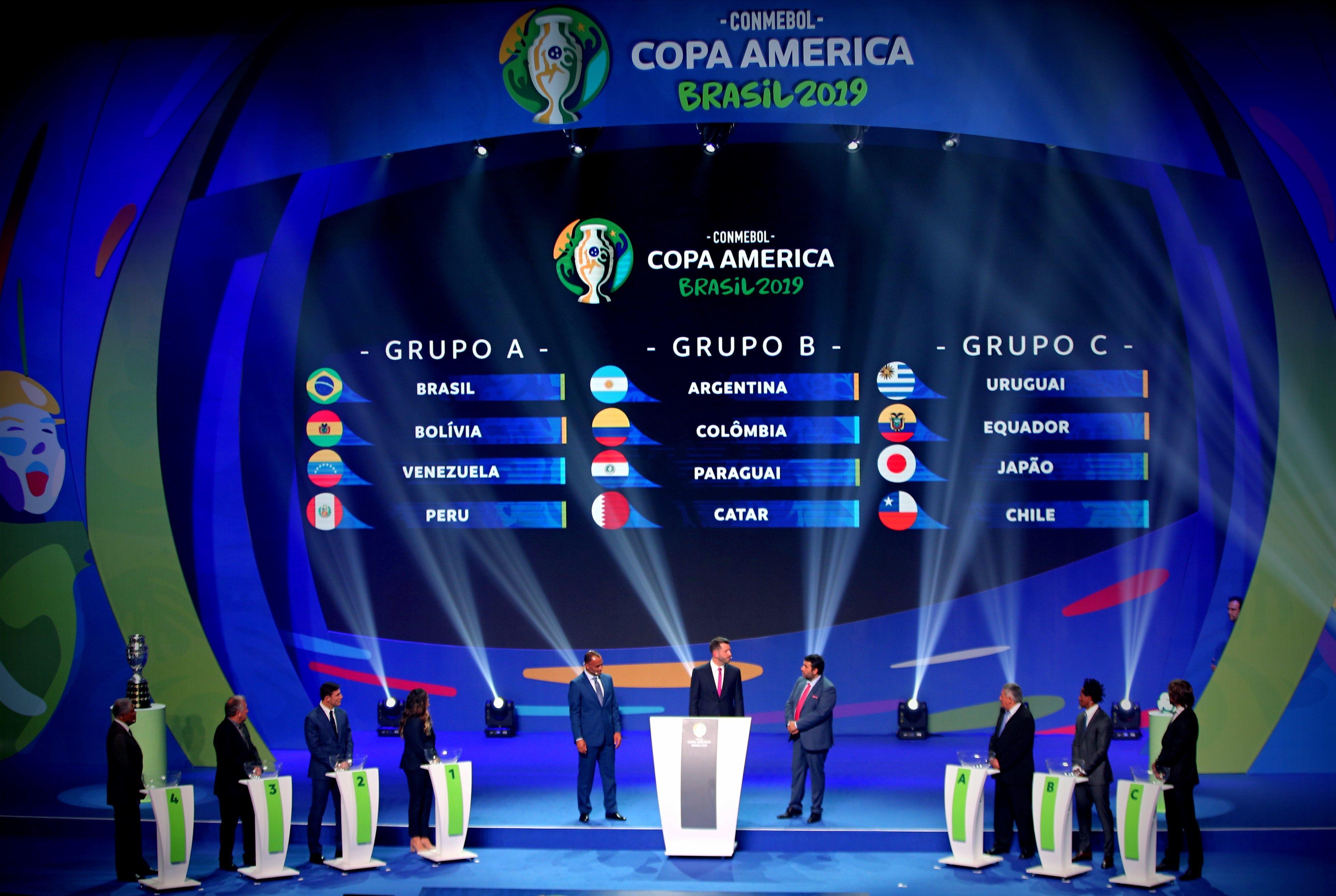 Así quedaron los grupos para la Copa América Brasil 2019 luego del sorteo efectuado este jueves, en Río de Janeiro. (Foto Prensa Libre: EFE).