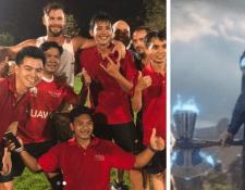 El actor Chris Hemsworth se tomó una fotografía con unos jóvenes en Tailandia con los que jugó un iimprovisado partido de futbol. (Foto Prensa Libre: Instagram @chrishemsworth)