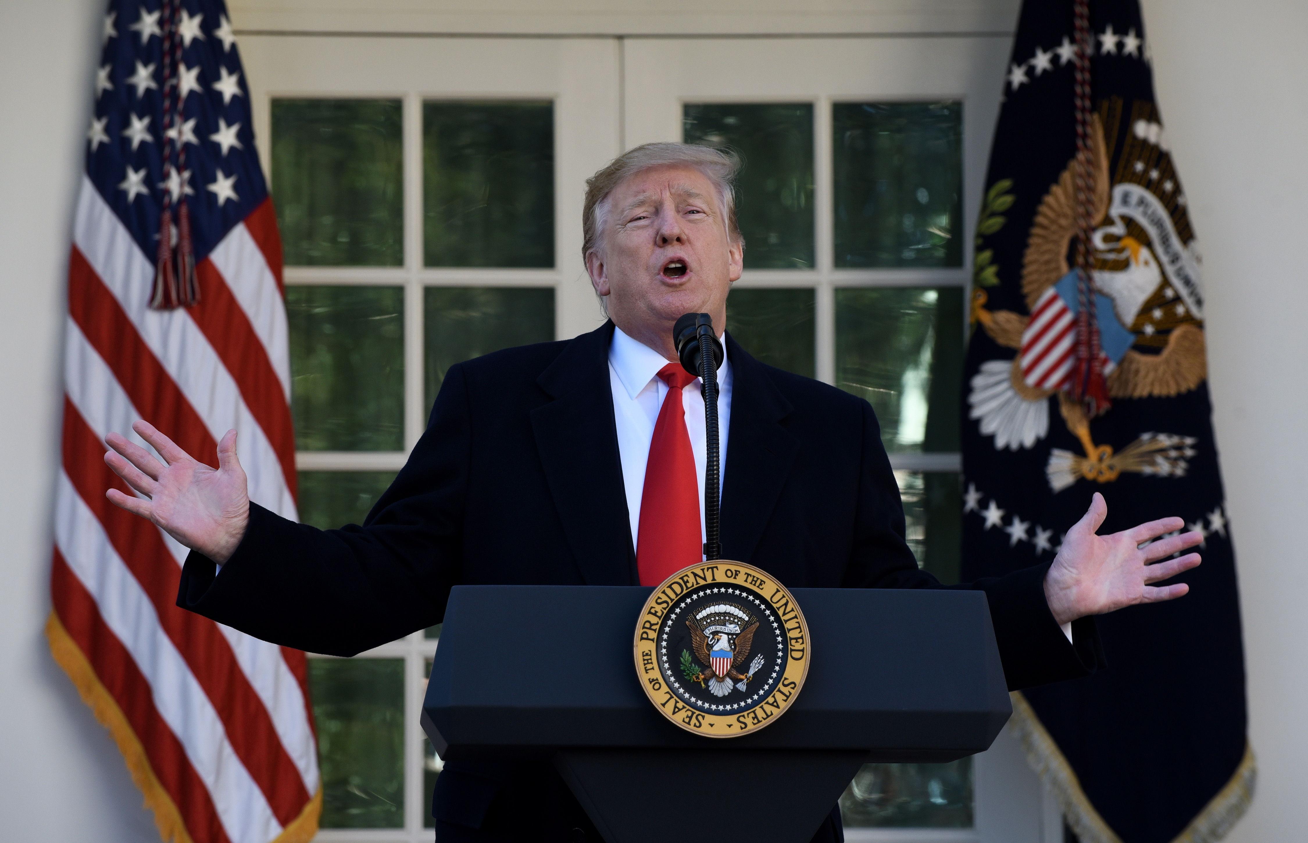 Donald Trump anuncia el acuerdo en Washington. (Foto Prensa Libre: EFE)