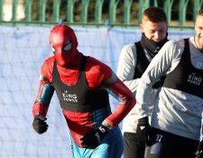Jamie Vardy, durante la práctica del Leicester. (Foto Prensa Libre: Twitter Leicester City)