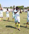 Jugadores de Chiantla festejan su pase a la final del torneo Apertura de la Primera División. (Foto Prensa Libre: Cristian Soto)