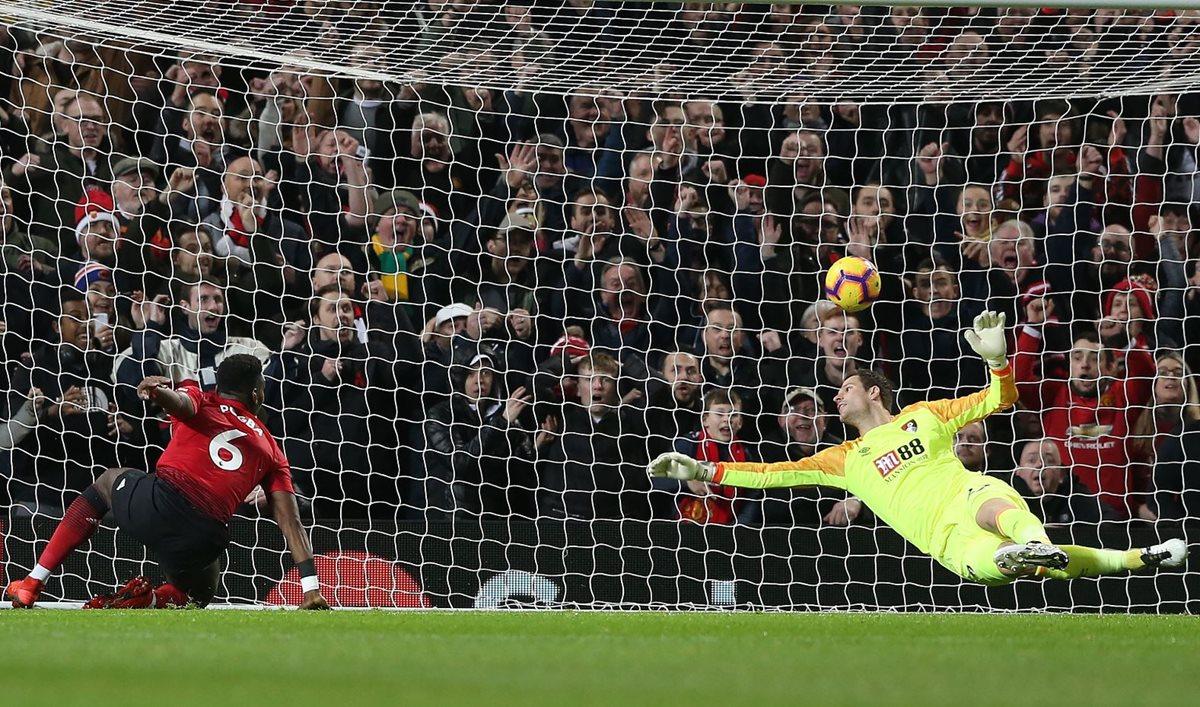 Paul Pogba, Mánchester United, anotó un doblete en el partido contra el Bournemouth. (Foto Prensa Libre: AFP).