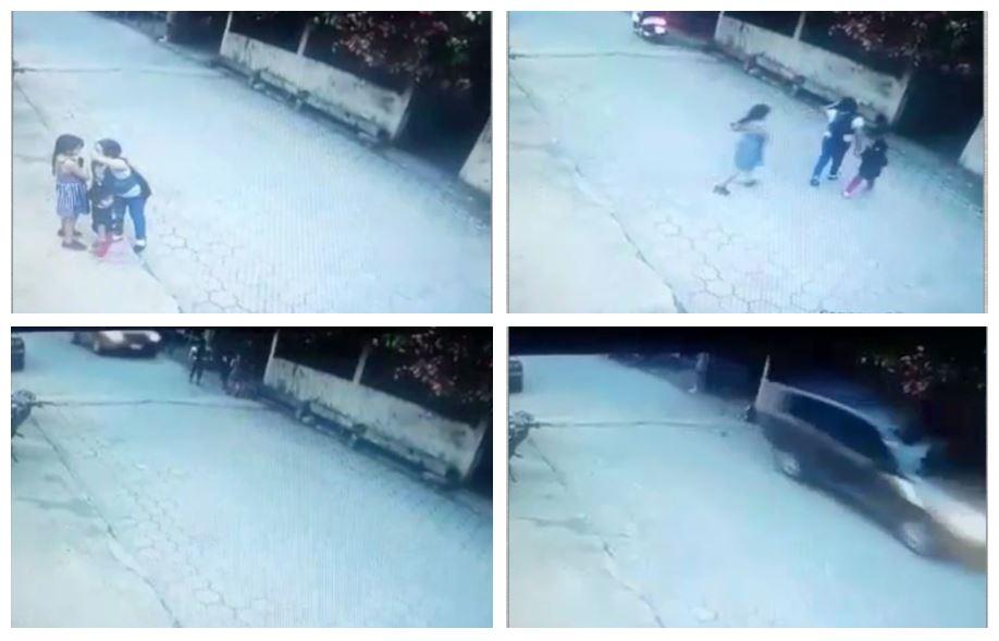Esta es parte de la secuencia del momento en el que tres niñas son arrolladas en Morales, Izabal. (Foto Prensa Libre: Cortesía)