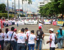 Sindicalistas y campesinos de Retalhuleu exigen una mejor Guatemala. (Foto Prensa Libre: Rolando Miranda).