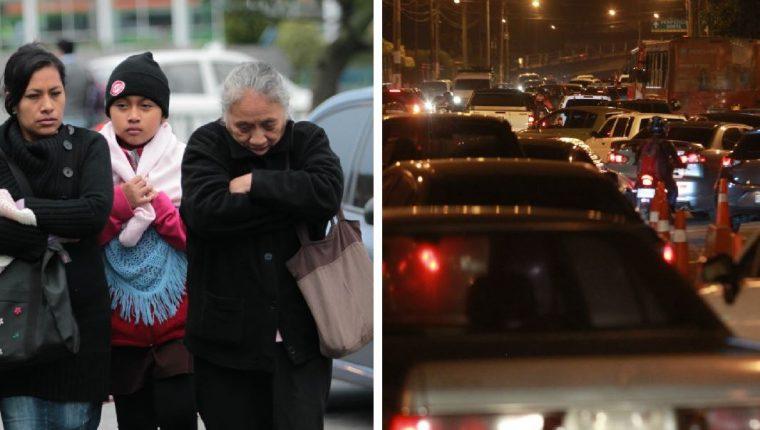 Un nuevo frente frío y congestionamientos vehiculares se prevén para el sábado y domingo en la capital. (Foto Prensa Libre: Hemeroteca PL).