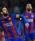 El astro argentino Lionel Messi contribuyó con un doblete al triunfo del FC Barcelona. (Foto Prensa Libre: AFP)
