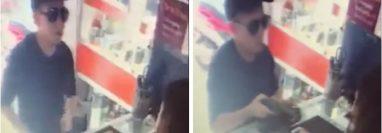 El asalto cometido por un hombre en Zacapa fue documentado por una cámara de vigilancia. (Foto Prensa Libre: Mario Morales)