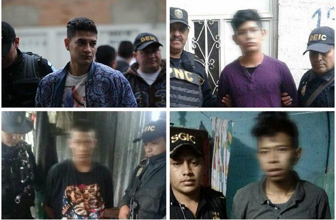 Tres de los capturados por supuestamente pertenecer a la estructura Los Pelones. (Foto Prensa Libre: Mingob)