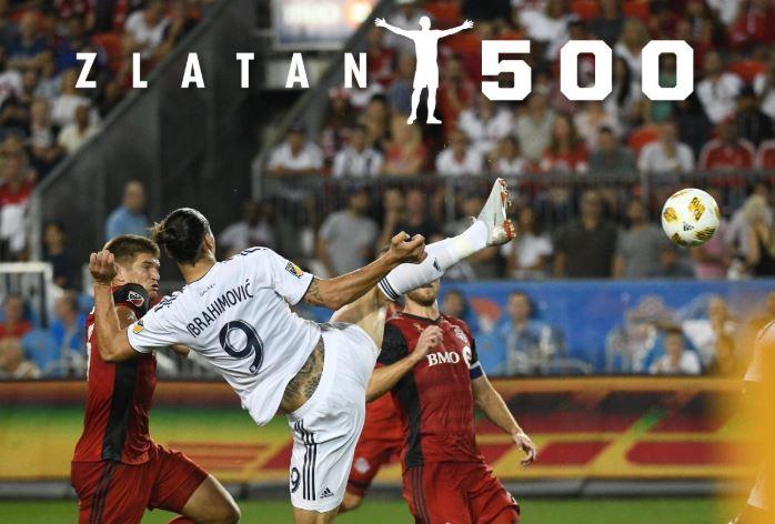 El delantero sueco llegó a los 500 goles en su carrera al anotar con el Galaxy de los Ángeles. (Foto Galaxy).