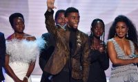 """(L-R) Danai Gurira, Chadwick Boseman, Lupita Nyong'o, Angela Bassett and the cast of """"Black Panther"""" accept the award for best Cast In A Motion Picture, during the 25th Annual Screen Actors Guild Awards show at the Shrine Auditorium in Los Angeles on January 27, 2019. (Photo by Frederic J. BROWN / AFP)"""