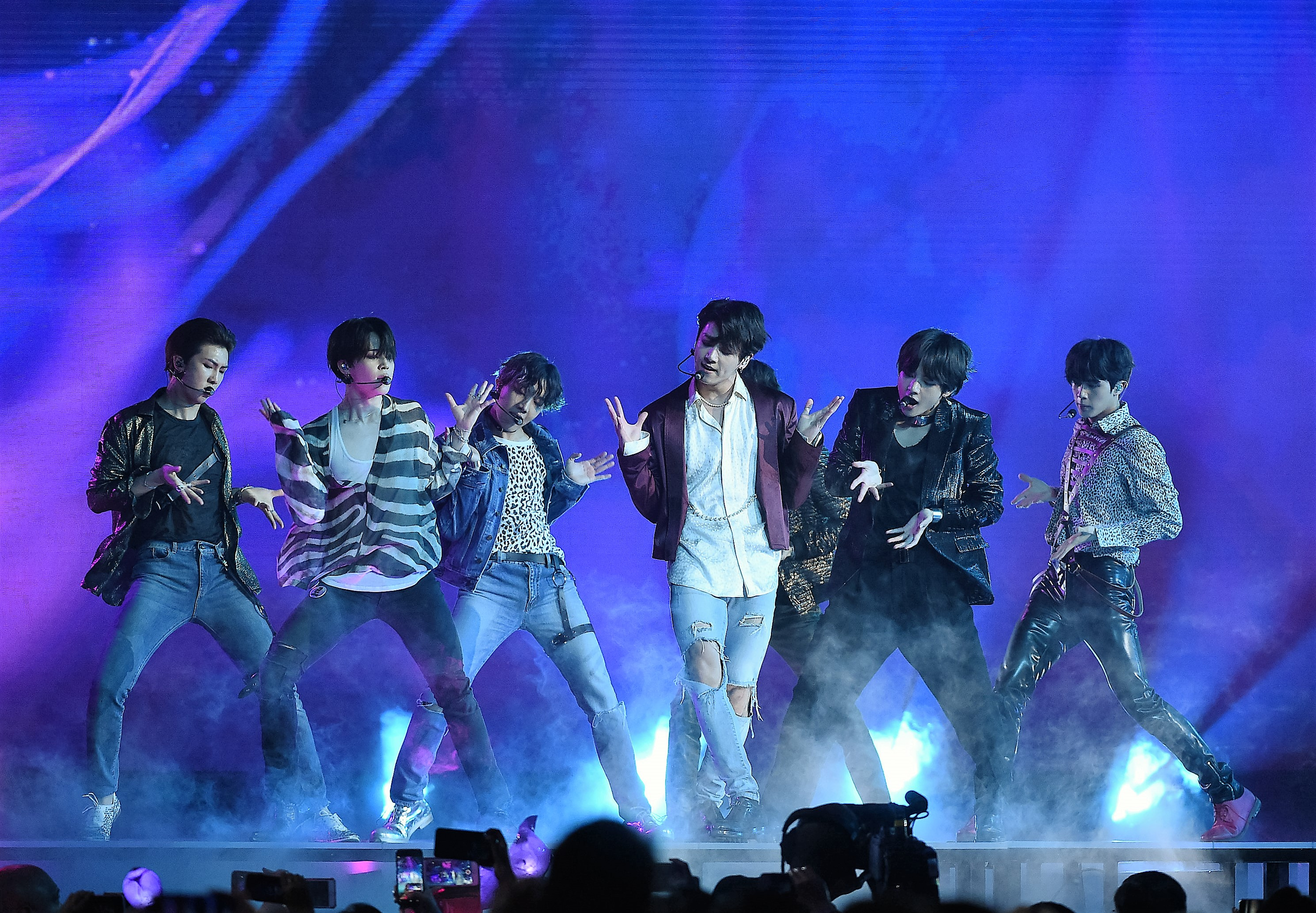 LAS VEGAS, NV - MAY 20:Jungkook, Jimin, V, Suga, Jin, j-hope of BTS perform at the 2018 Billboard Music Awards at MGM Grand Garden Arena on May 20, 2018 in Las Vegas, Nevada. (Photo by Frank Micelotta/PictureGroup/Sipa USA)