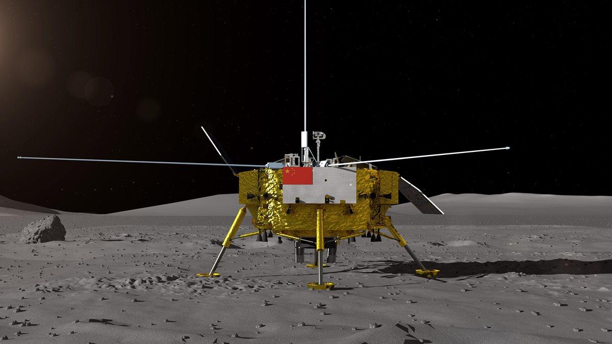 Recreación artística del alunizaje de la sonda china Chang'e 4. (Foto Prensa Libre: EFE)