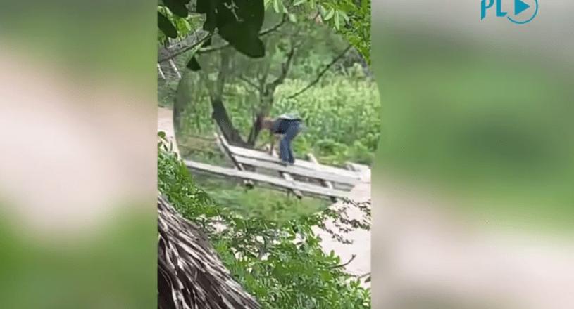 Vecinos desafían al peligro al cruzar el río Jupilingo