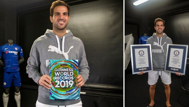 Cesc Fábregas hace historia al ingresar al libro Récords Guinness. (Foto Redes).