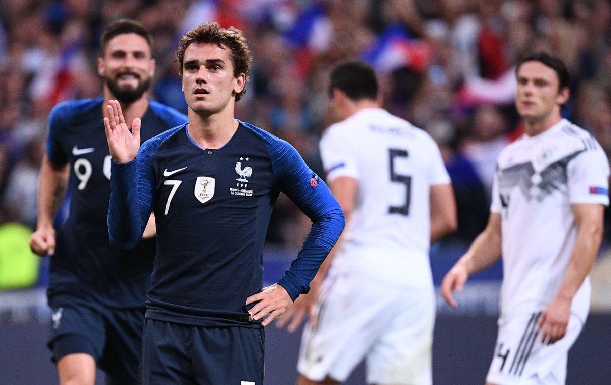 Antoine Griezmann convirtió el segundo gol de Francia, que significó el triunfo contra Alemania. (Foto Prensa Libre: AFP).