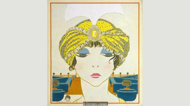 Una ilustración de Georges Lepape de 1911 muestra un turbante de Poiret que evoca el lujo del Art Déco y la decadencia de la visión del diseñador. (Foto: Georges Lepape)GEORGES LEPAPE