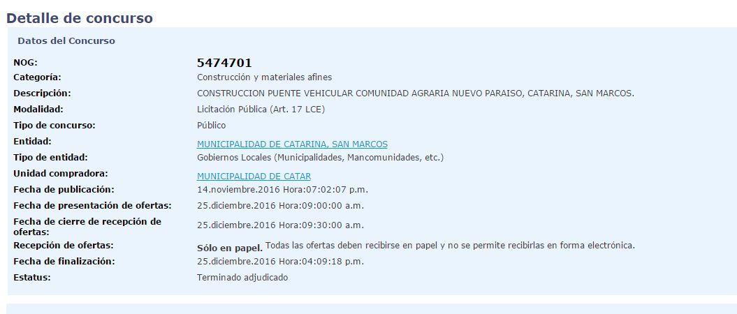 Concurso en Guatecompras de la adjudicación de la construcción de puente, el 25 de diciembre. (Foto Prensa Libre: Guatecompras)