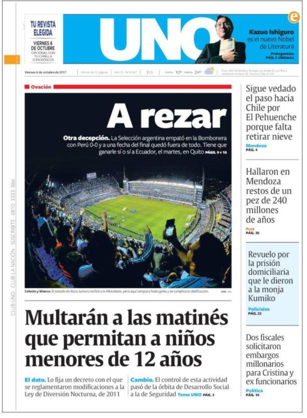 Uno de los principales diarios de Argentina muestran la portada luego del resultado que complica la selección que busca su boleto a Rusia 2018. (Foto tomada de internet)