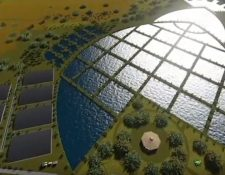 El proyecto de saneamiento del Lago de Amatitlán visto desde el aire tiene la forma de un pez. (Foto Prensa Libre: Cortesía Amsa)