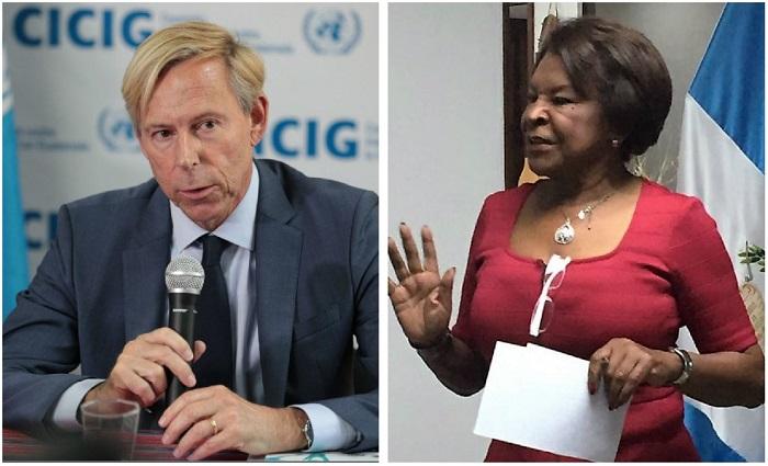 Los embajadores Anders Kompass, de Suecia, y Elena Alicia Salcedo Poleo, de Venezuela. (Foto Prensa Libre: Guatevisión).