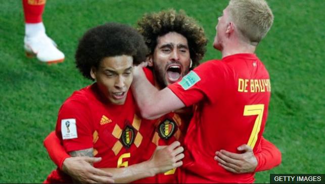 Bélgica celebra su paso a cuartos de final del mundial de Rusia 2018. (Foto Prensa Libre: BBC Mundo)