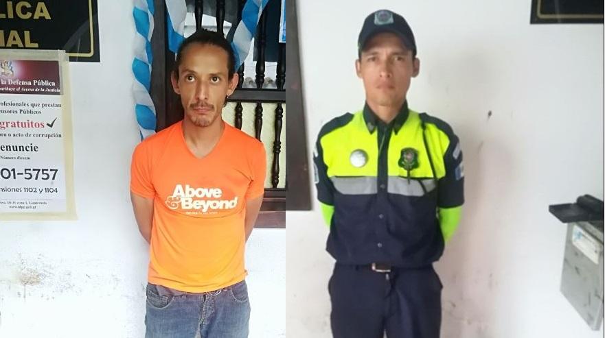 Subestación 74-1, Antigua Guatemala informó de la aprehensión de ambos sujetos con cargo de atentado y daños a la propiedad. (Foto Prensa Libre: PNC)