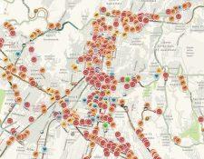 Panorama del tránsito vehicular en área metropolitana, según reportes de Waze.