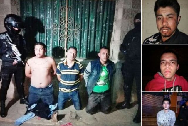 Tres de los capturados por las fuerzas de seguridad luego de ataques. (Foto Prensa Libre: PNC)