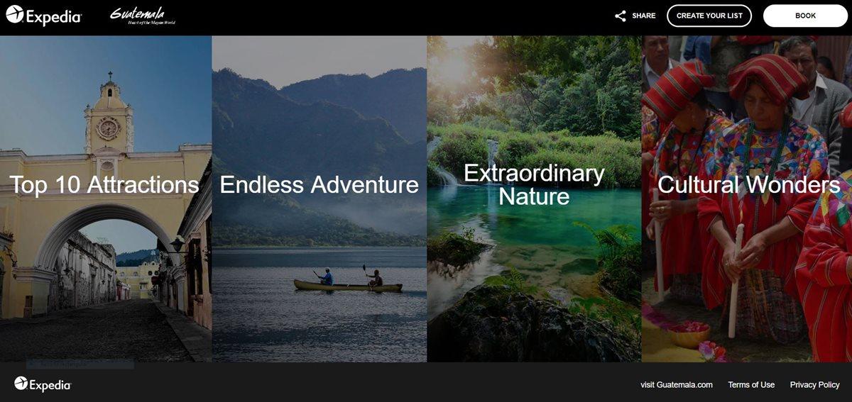 Esta es una las páginas de Expedia Group donde se muestran los atractivos turísticos de Guatemala. (Foto: Prensa Libre: sitio Expedia).