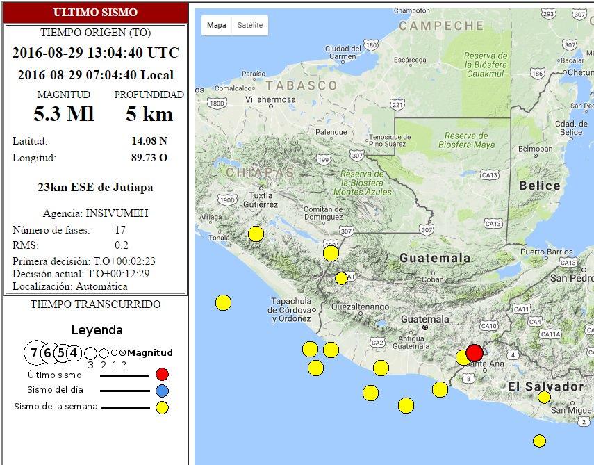 Sismo tuvo epicentro a 23 kilómetros de Jutiapa. (Foto Prensa Libre: Conred)
