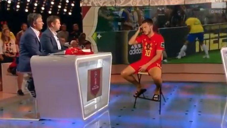 """A simple vista pareciera que Hazard hizo el viaje hacia su país para ser entrevistado, pero en realidad todo fue gracias a la """"magia"""" de la tecnología actual. (Foto Prensa Libre: Captura de video)"""