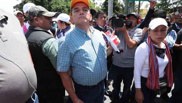 Joviel Acevedo, líder magisterial durante manifestación de maestros del pasado jueves. (Foto Prensa Libre: Hemeroteca)