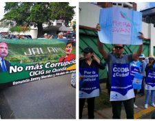 Las dos manifestaciones empezaron en horas de la mañana enfrente a la sede de la Cicig, zona 14. (Fotos, Prensa Libre: Pablo Raquec)