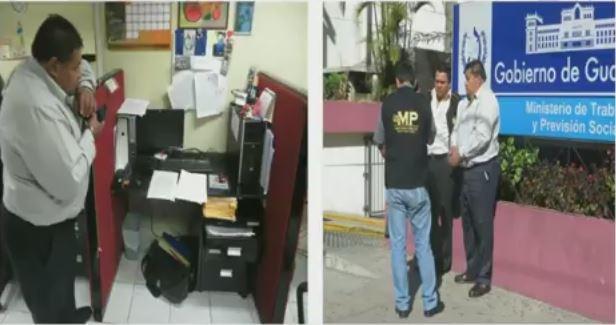 Momento de la captura de inspector de Trabajo. (Foto Prensa Libre: MP)