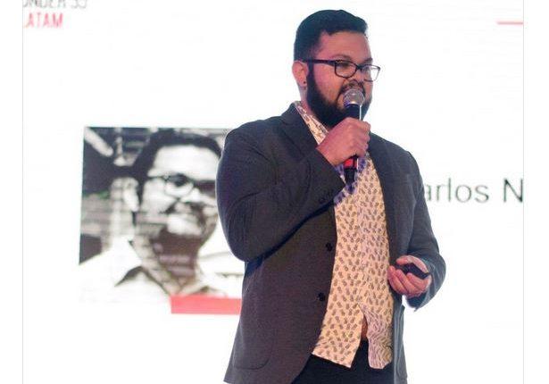 Juan Carlos Noguera (Guatemala) diseñó la primera impresora 3D que imprime circuitos electrónicos. (Foto Prensa Libre: Innovadores Menores de 35)