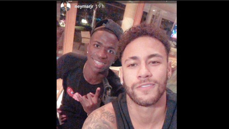 Vinicius y Neymar compartieron en la casa de la estrella del PSG. (Foto Prensa Libre: Instagram Neymar)