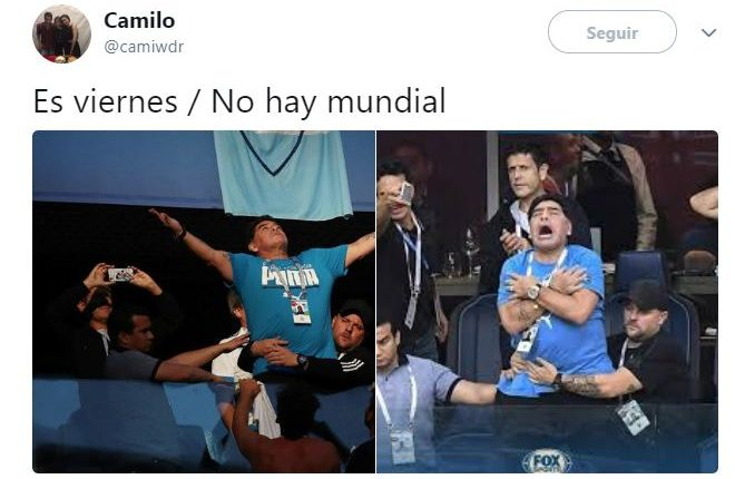 Diego Armando Maradona sigue protagonizando los memes del Mundial. (Foto Prensa Libre: Twitter)