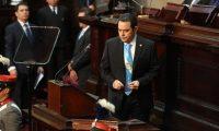 Jimmy Morales evitó hablar del convenio de Cicig y los reclamos a la ONU. (Foto Prensa Libre: Esbin García)