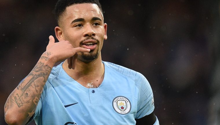 Manchester City's Brazilian striker Gabriel Jesus celebrates scoring the opening goal during the English FA Cup fourth round football match between Manchester City and Burnley at the Etihad Stadium in Manchester, north west England, on January 26, 2019. (Photo by Oli SCARFF / AFP) / RESTRICTED TO EDITORIAL USE. No use with unauthorized audio, video, data, fixture lists, club/league logos or 'live' services. Online in-match use limited to 120 images. An additional 40 images may be used in extra time. No video emulation. Social media in-match use limited to 120 images. An additional 40 images may be used in extra time. No use in betting publications, games or single club/league/player publications. /