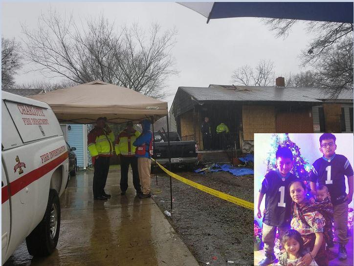Vivienda de la familia Sánchez Méndez —inserta— donde se produjo el incendio. (Foto Prensa Libre: Cortesía)