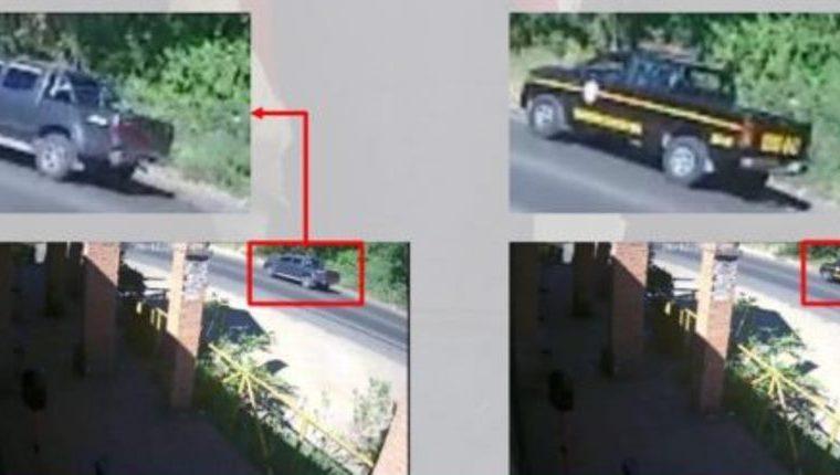 Capturas de imagen de video que muestran el vehículo de los agraviados -izquierda- y el autopatrulla en la que se conducían los agentes Guerra y García. (Imagen proporcionada por la PNC)