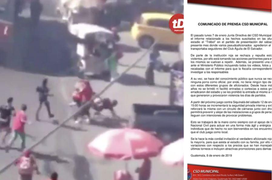Municipal anuncia anuncia que presentaron denuncia en el Ministerio Público por agresión a aficionados del Águila de San Miguel. (Foto Prensa Libre: Redes sociales)
