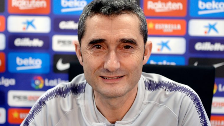 "Barcelona's coach Ernesto Valverde holds a press conference at the Joan Gamper Sports Center in Sant Joan Despi on February 5, 2019. (Photo by Josep LAGO / AFP) / ""The erroneous mention[s] appearing in the metadata of this photo by Josep LAGO has been modified in AFP systems in the following manner: [Ernesto Valverde] instead of [Alejandro Valverde]. Please immediately remove the erroneous mention[s] from all your online services and delete it (them) from your servers. If you have been authorized by AFP to distribute it (them) to third parties, please ensure that the same actions are carried out by them. Failure to promptly comply with these instructions will entail liability on your part for any continued or post notification usage. Therefore we thank you very much for all your attention and prompt action. We are sorry for the inconvenience this notification may cause and remain at your disposal for any further information you may require."""