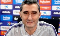 """Barcelona's coach Ernesto Valverde holds a press conference at the Joan Gamper Sports Center in Sant Joan Despi on February 5, 2019. (Photo by Josep LAGO / AFP) / """"The erroneous mention[s] appearing in the metadata of this photo by Josep LAGO has been modified in AFP systems in the following manner: [Ernesto Valverde] instead of [Alejandro Valverde]. Please immediately remove the erroneous mention[s] from all your online services and delete it (them) from your servers. If you have been authorized by AFP to distribute it (them) to third parties, please ensure that the same actions are carried out by them. Failure to promptly comply with these instructions will entail liability on your part for any continued or post notification usage. Therefore we thank you very much for all your attention and prompt action. We are sorry for the inconvenience this notification may cause and remain at your disposal for any further information you may require."""""""
