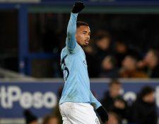 Gabriel Jesús anotó el gol de la victoria del Manchester CIty contra el Everton. (Foto Prensa Libre: AFP)