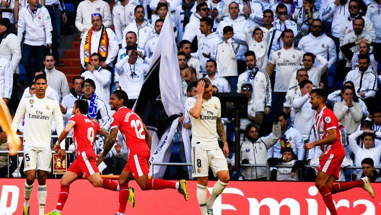 El Girona superó al Real Madrid con goles de Stuani y Portu. (Foto Prensa Libre: AFP)